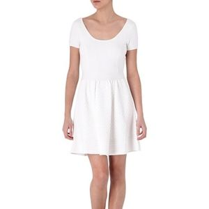 Sandro White Rebus Textured Knit Dress